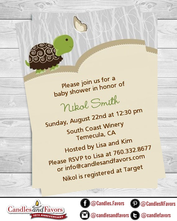 Turtle Baby Shower Invitation Pink Or Blue Turtle Baby Etsy