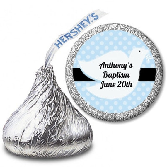 108 GLOSSY HERSHEY KISS STICKER LABELS BLUE DOVE CHRISTENING OR BAPTISM #2