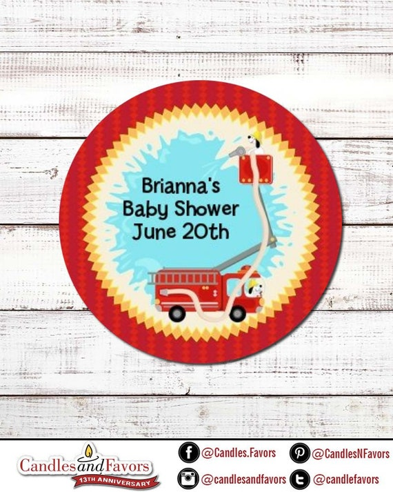 Fire Truck Personalized Round Baby Shower Sticker Labels