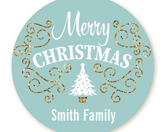 Christmas Tree - Personalized Round Christmas Sticker Labels -  Gold Glitter Merry Christmas Stickers - Available in 7 Different Sizes