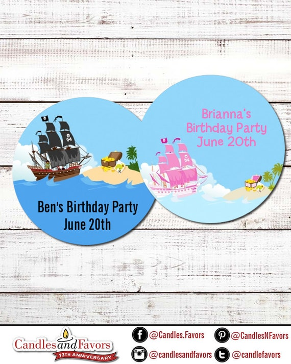 Personalized Beware of Pirates Birthday Party DIY Craft Supplies Pirate Skull Labels 24 per set Circle Sticker Labels