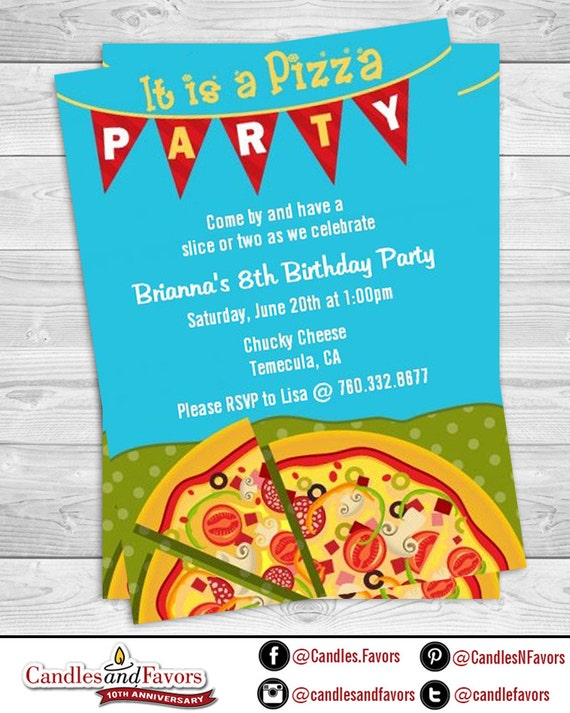 pizza party birthday party invitation professionally printed or