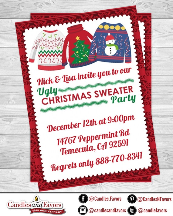 Ugly Sweater Party Christmas Invitation Christmas Party Invitation