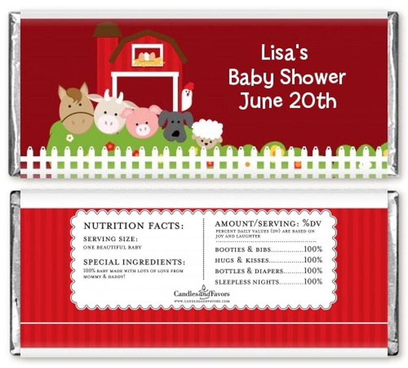 12 Farm Animals Baby Shower Candy Bar Wrappers Personalized Custom Sweet Treat New Baby Party  Favors