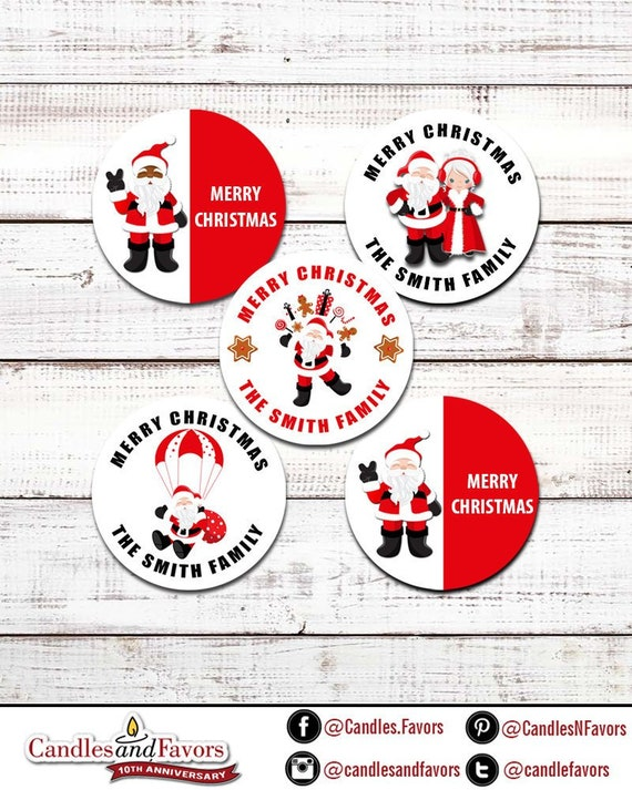 Merry Christmas Labels.Santa Claus Personalized Round Christmas Sticker Labels