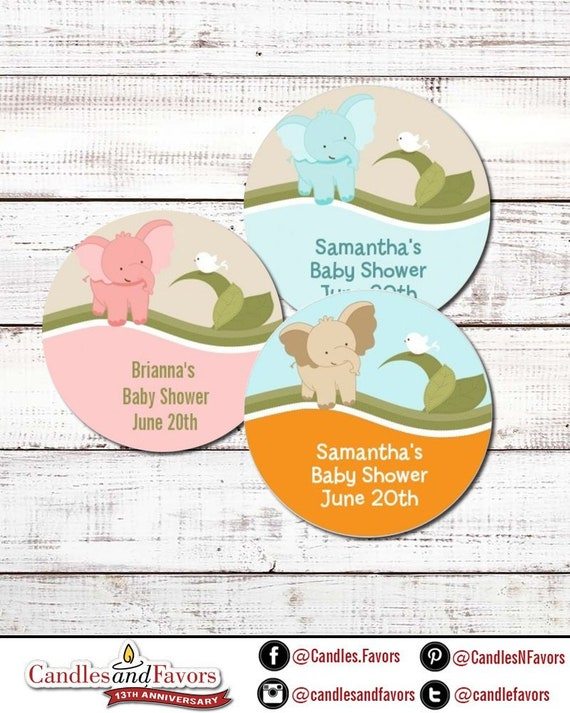 """30 Personalized Round Stickers 1.5/"""" Inches Pink Elephant Baby Shower"""