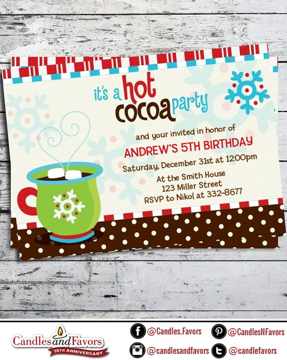 Hot Cocoa Party Christmas Invitation Snowflake Christmas Party