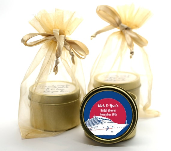 Cruise Ship Bridal Shower Candle Gold Tin Favor Or Wedding Candle