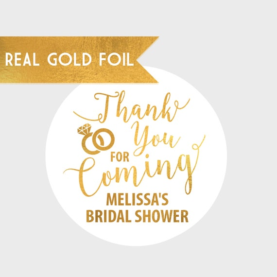 Thank You For Coming Gold Foil Bridal Shower Stickers