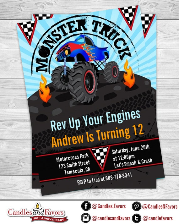 monster truck birthday party invitation monster jam invite truck