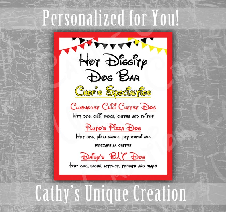 picture regarding Hot Diggity Dog Bar Free Printable titled Warm Diggity Pet dog Bar Menu, Mickey Mouse Clubhouse, Disney, Birthday Celebration, Ears, Purple, Yellow, Black, Concept, Printable, Tailor made Indicator, Obtain