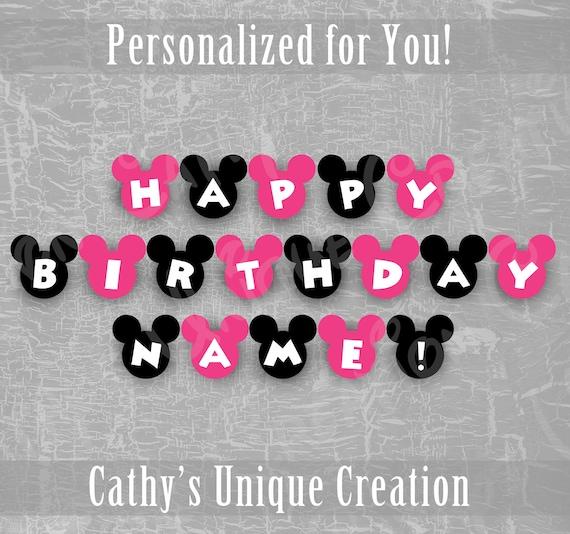 Custom Minnie Mouse Happy Birthday Name Banner Disney Kids Etsy