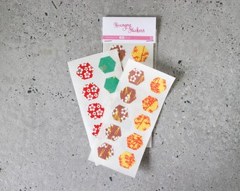 Traditional Japanese chiyogami print hexagon stickers