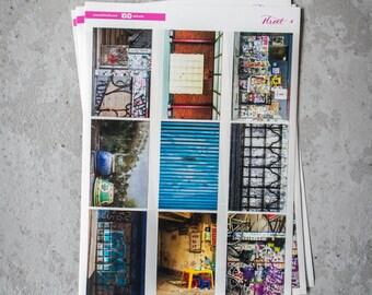 Street Sticker Sheet, A5, Peel & Stick, Planner Stickers, Journal Decoration, Travel Journal, Photography Stickers