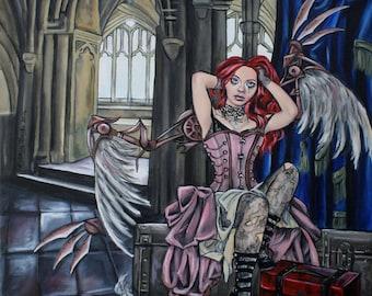 Broken, steampunk fairy mechanical wings original acrylic painting, lowbrow art