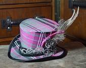 grey and pink tartan steampunk mini top hat, mad hatter, alternative wedding