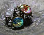 mermaid dragon scale filigree ring, silver or bronze, steampunk, fantasy