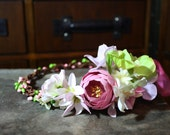 boho festival flower crown circlet in pink and green, dryad, fairy, woodland wedding, bridesmaid