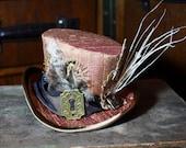 copper silk steampunk mini top hat, fascinator, with key hole, alternative wedding