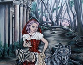steampunk little red riding hood and the wolf fine art print