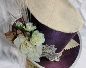 steampunk wedding mini top hat purple and cream the courtesan