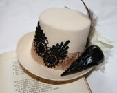 steampunk mini top hat with feathers and bird skull nevermore