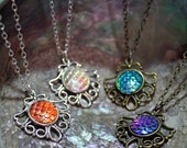 mermaid scale filigree steampunk pendant necklace, choice of colours, bridesmaid gift