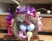 custom bird nest and flower fascinator, steampunk hair clip, alternative wedding through a hedge backwards