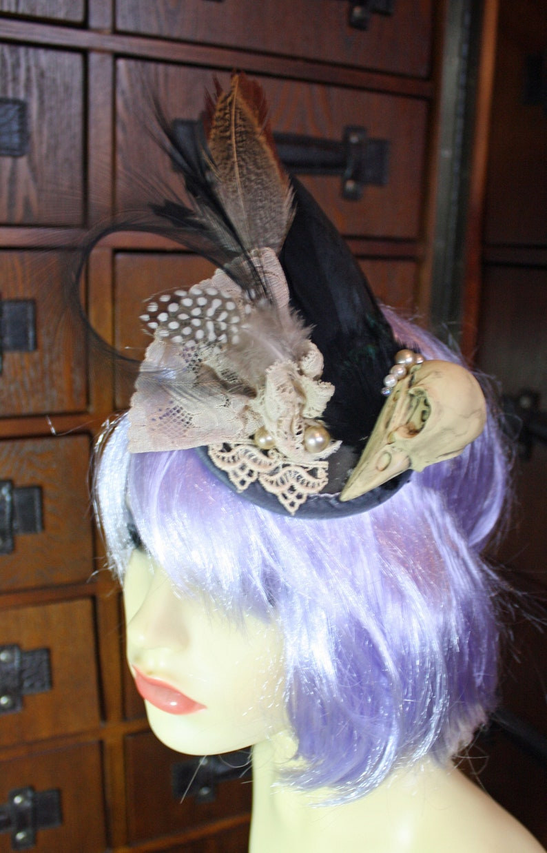3a40d5037f916 Steampunk gothic bird skull taxidermy fascinator, headpiece, noir,  burlesque, alternative wedding