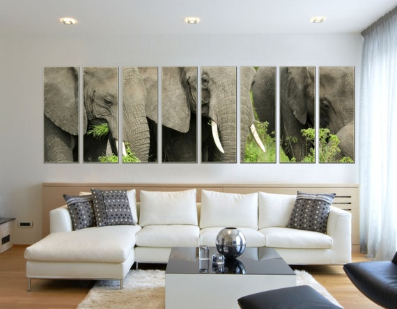... Home Décor Picture Prints Decor $175.00 8 Piece Extra Large Gray Animal  Wildlife Elephant Framed Split Nyc Giclee Canvas Wall Art Artwork