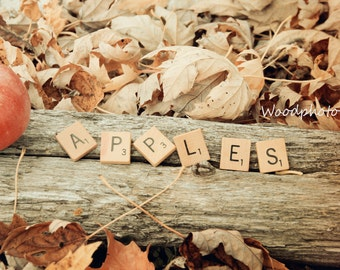 Apples, scrabble tiles, food photography, rustic