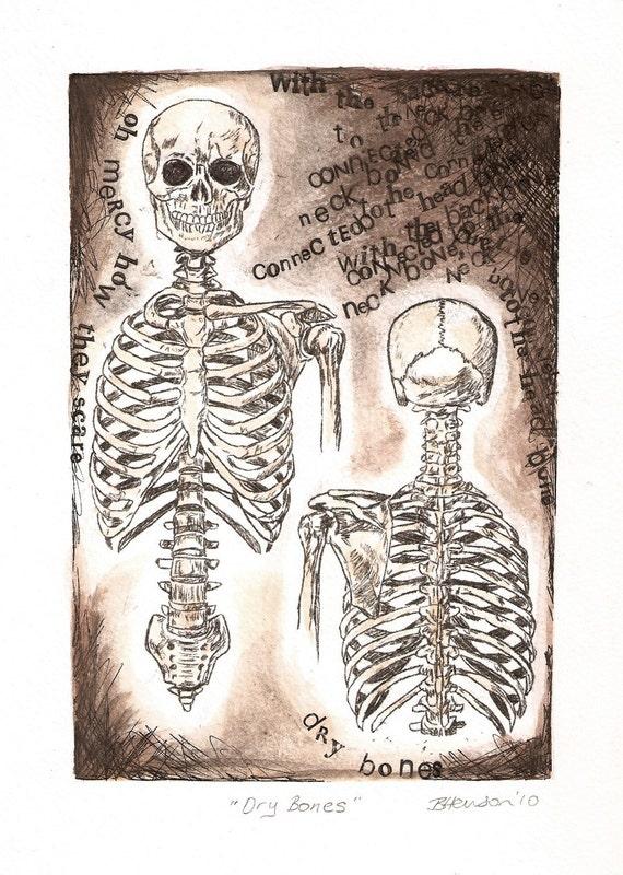 Anatomy Art Dry Bones Skeleton Drawing The Neck Bone Is Etsy