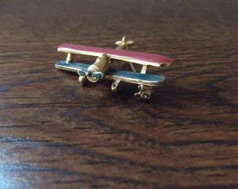 Ultra Craft Biplane Brooch with Rotating Propeller Plane Airplane Brooch Plane Pin Plane Brooch Metal Brooch