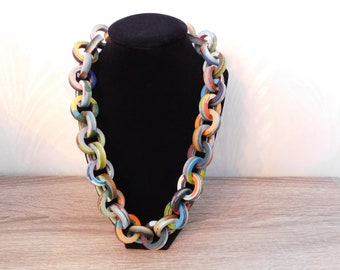 Carlos Sobral Chunky Resin Links Necklace  Multicolored