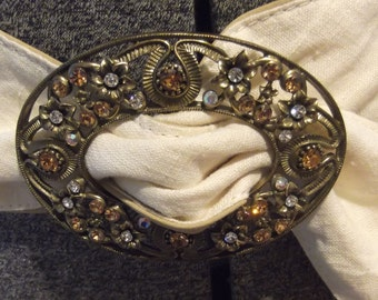 Off White Linen Wide Slouch Belt with Rhinestone Buckle