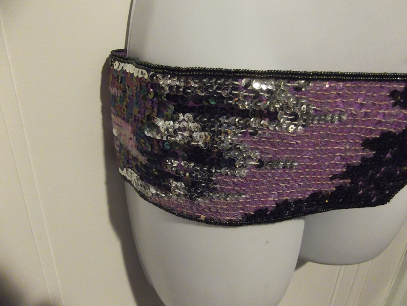Shades of  Purple Sequin and Seed Bead Belt