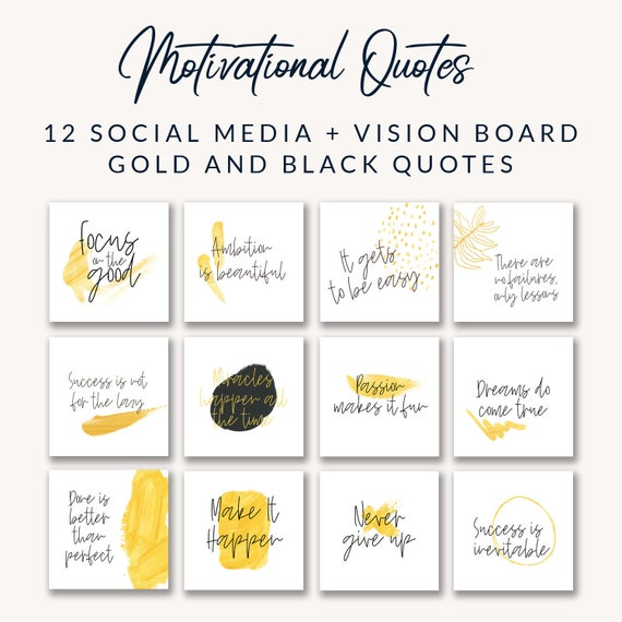 Premade Motivational Quotes, Social Media Quotes, Vision Board Quotes, Gold  Instagram Quotes, Social Media Marketing, Instagram Marketing