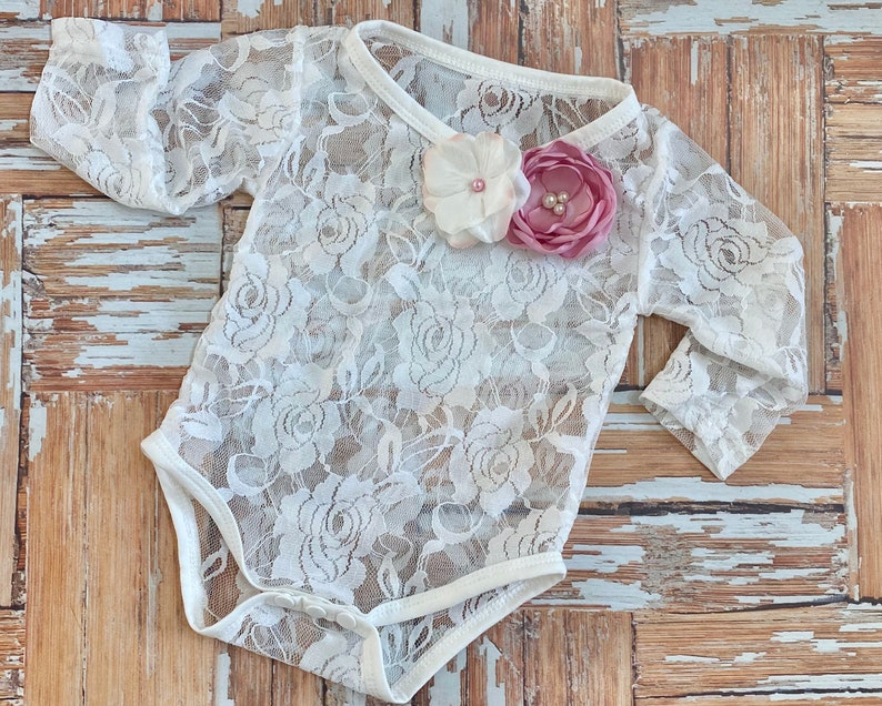 Cream Dusty Pink Lace Bodysuit Baby Girl Cake Smash Photo Outfit Long Sleeve Creeper Top w ribbon pearls fabric flowers Shower Gift