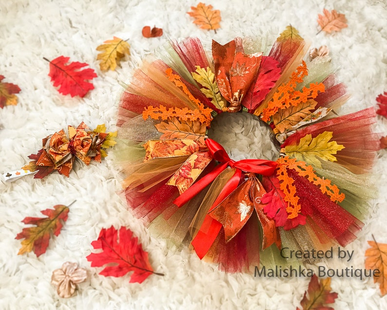 Hair bow Headband Baby Girl First Birthday Leaves Glitter Orange Brown Olive Red Autumn Thanksgiving Fall tutu Outfit Crochet Top Ribbon