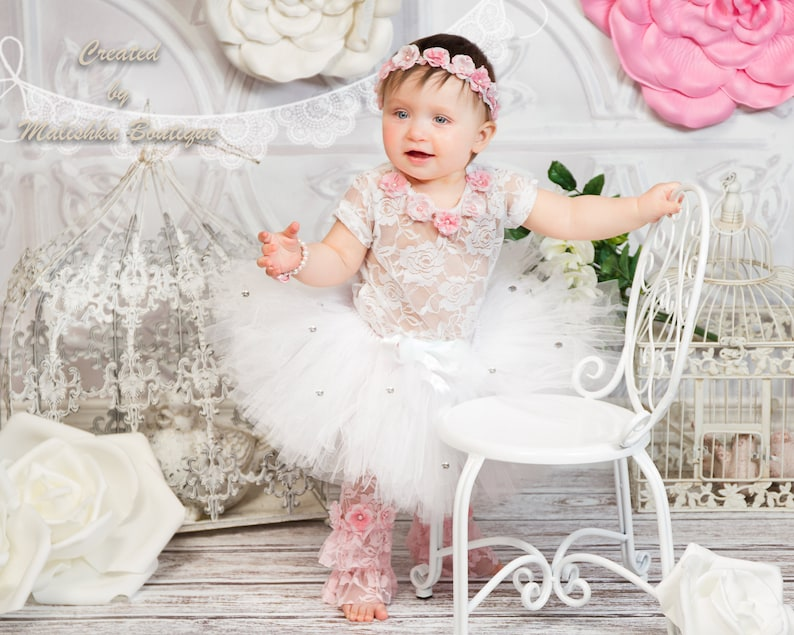912918e9fa2c Baby Girl White Pink Tutu Lace Bodysuit Flower Hair Crown