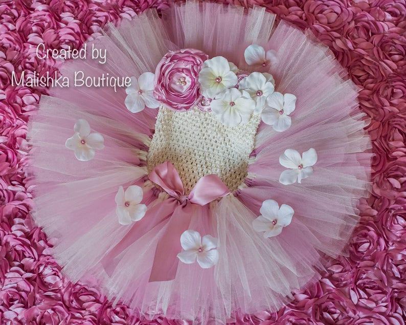 de5d20bd15 Dusty Rose Cream Baby Girl Tutu Top Dress Flowers Mauve