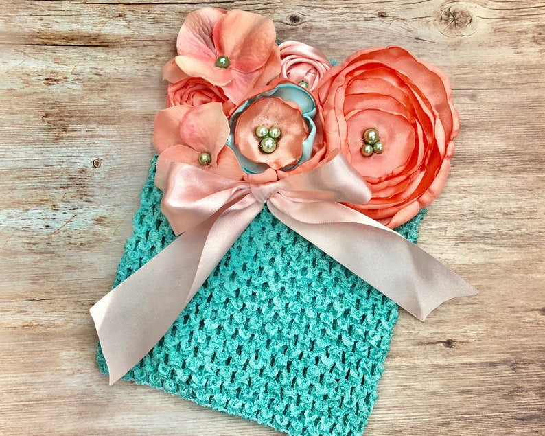 Foot Bands Newborn Fabric Flower Aquamarine Aqua Coral Stretchy Summer Shoes Baby Girl Barefoot Sandals Cake Smash Photo Prop Outfit