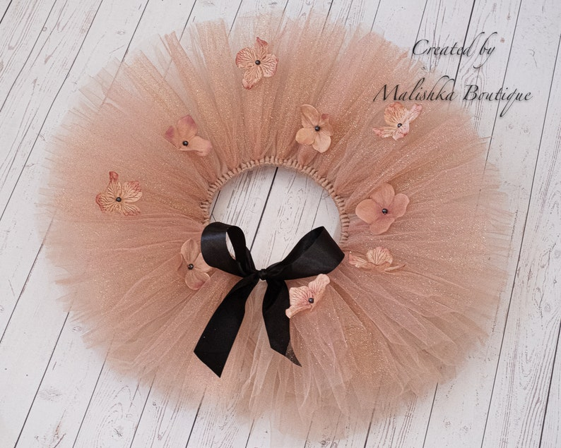 Beauty Pageant 6 month Photo Prop Fall Winter Birthday Baby Girl Glitter Full Beige Taupe Cake Smash Flower Tutu Ruffle Top Outfit Set