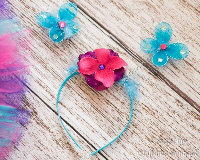 Rhinestone Pearls Purple Hot Pink Fairy Butterfly Wings Costume First Birthday Outfit Baby Girl Turquoise Glitter Wand Headband Antennae