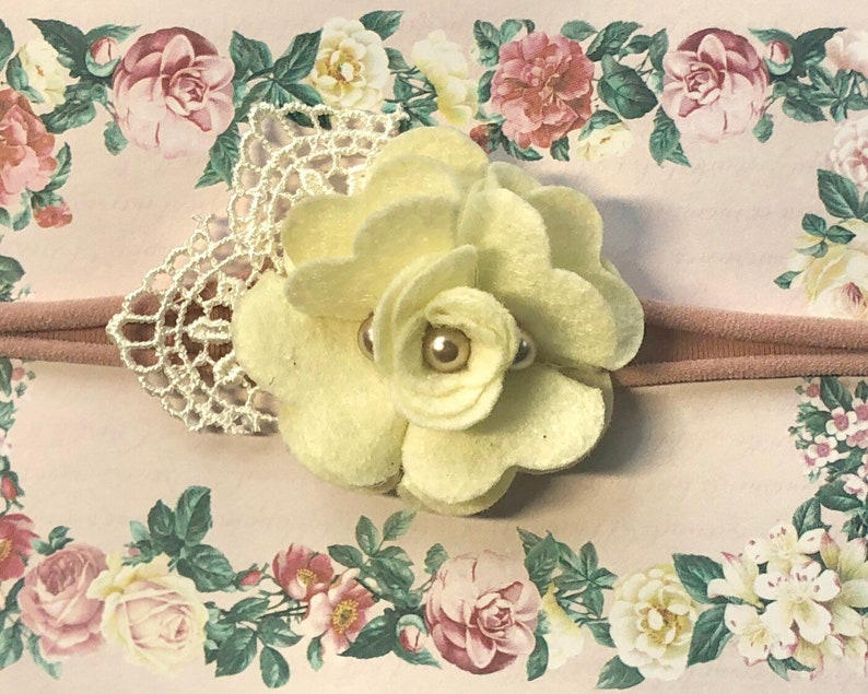 lace leaf spring easter outfit dusty pink soft stretchy shower gift Baby Girl Headband Nylon Cream Mauve felt flower Newborn Photo Prop