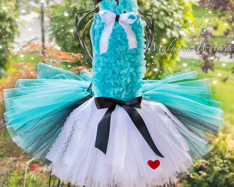 Alice in Wonderland Baby Girl Tulle Apron Dress Costume Outfit Tutu Turquoise White Black Ribbon Ruffle Top First Birthday Cake Smash Photo