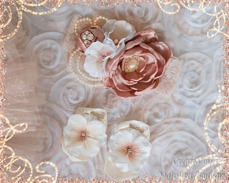Flower Girl Outfit Pearl Necklace Bracelet Jewelry Fabric Flowers Lace Sequins Champagne Chiffon Toddler Rose Gold Cream Ivory Headband