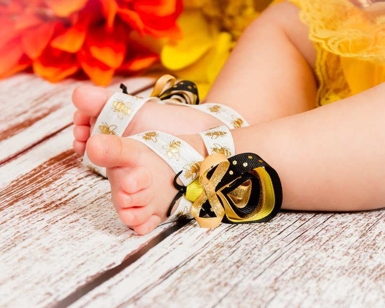 Baby Girl Barefoot Sandals Bumble bee Black Gold White Yellow First  Birthday Outfit Costume Stretchy Shoes Sculpted bee newborn photo prop