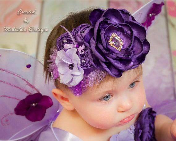 Glitter Tulle Rhinestones First Birthday Outfit Lace Ultra Violet Purple Headband Plum Large Over the Top Baby Girl Fabric Singed Flower
