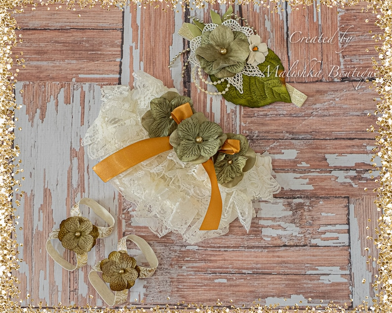 Baby Girl First Birthday Outfit Tutu Crochet Top Set Cream Gold Moss Sage Olive Green Fabric flowers dress glass pearl beads layered pageant